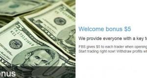 $5 Forex Welcome No Deposit Bonus